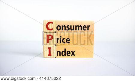 Cpi, Consumer Price Index Symbol. Wooden Blocks With Words 'cpi, Consumer Price Index'. Beautiful Wh