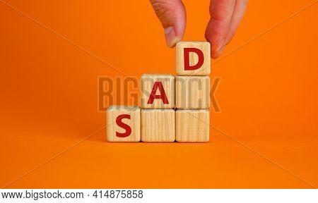 Sad, Social Anxiety Disorder Symbol. Concept Words 'sad, Social Anxiety Disorder' On Cubes On A Oran
