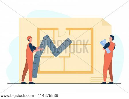 Tiny Builders Studying Apartment Draft. Engineer, Paper, Renovation Flat Vector Illustration. Constr