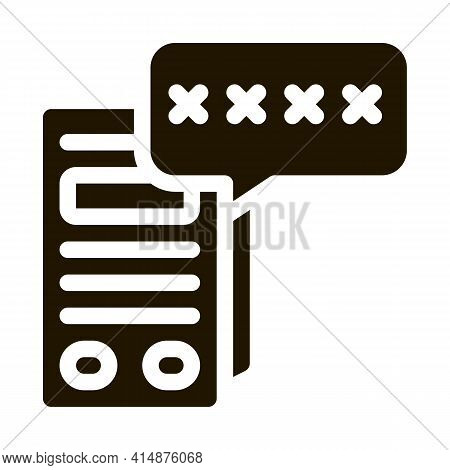 Pos Terminal Pin Code Glyph Icon Vector. Pos Terminal Pin Code Sign. Isolated Symbol Illustration