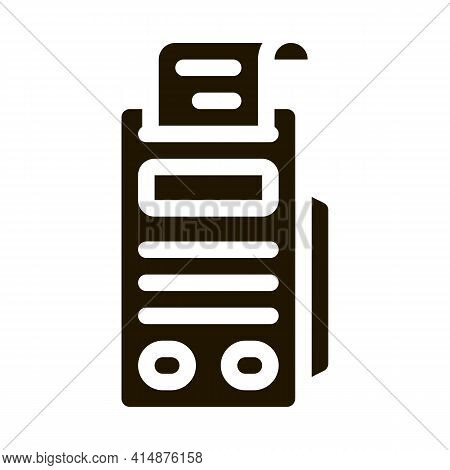 Pos Terminal Print Receipt Glyph Icon Vector. Pos Terminal Print Receipt Sign. Isolated Symbol Illus
