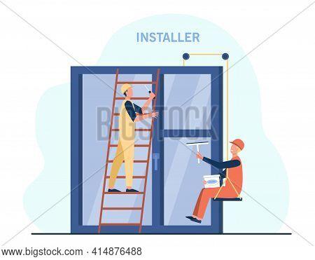 Professional Workers Installing Window. Ladder, Installer, Glass Flat Vector Illustration. Renovatio