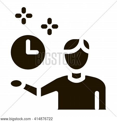 Human Fixed Clock Glyph Icon Vector. Human Fixed Clock Sign. Isolated Symbol Illustration