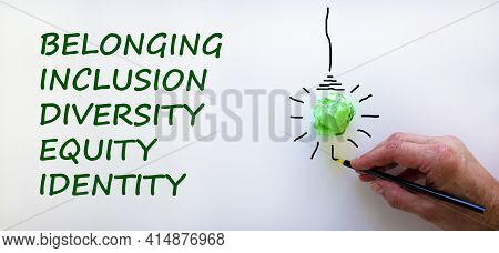 Belonging Symbol. Businessman Writing 'identity, Equity, Diversity, Inclusion, Belonging', White Bac