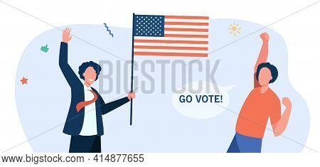 Happy American Citizens With Flag Voting. Usa, Government, Freedom Flat Vector Illustration. Democra
