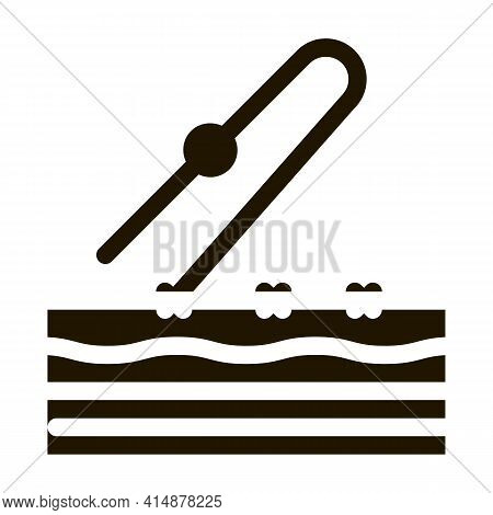 Stitching Of Surgical Incision Glyph Icon Vector. Stitching Of Surgical Incision Sign. Isolated Symb