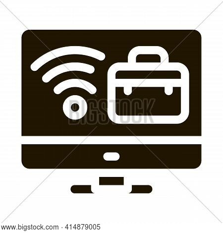 Wifi And Business Case On Computer Screen Glyph Icon Vector. Wifi And Business Case On Computer Scre