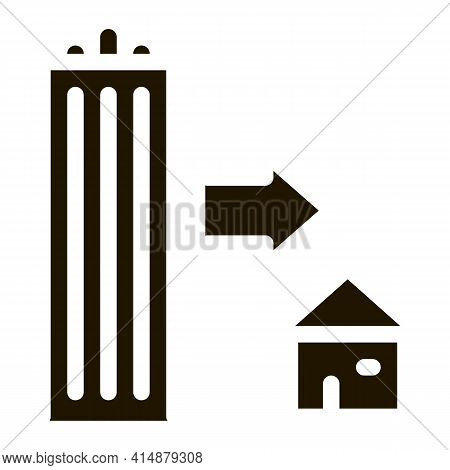 Skyscraper And House Glyph Icon Vector. Skyscraper And House Sign. Isolated Symbol Illustration
