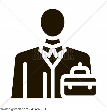Businessman Profession Glyph Icon Vector. Businessman Profession Sign. Isolated Symbol Illustration