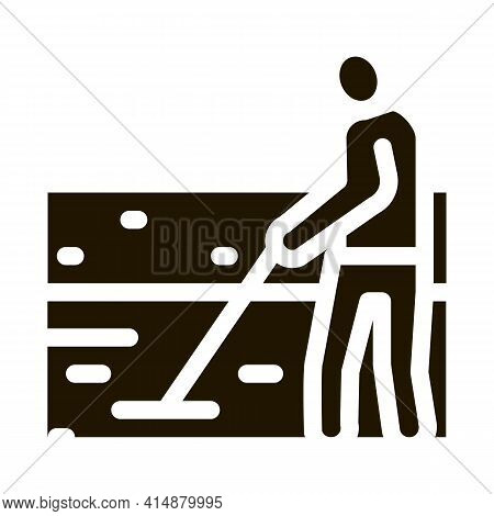 House Foundation Laying Glyph Icon Vector. House Foundation Laying Sign. Isolated Symbol Illustratio