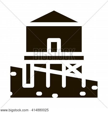 Mixed Type Of Built Foundation Glyph Icon Vector. Mixed Type Of Built Foundation Sign. Isolated Symb