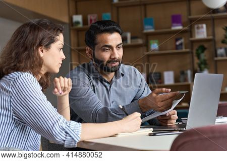 Professional Indian Teacher, Executive Or Mentor Helping Latin Student, New Employee, Teaching Inter