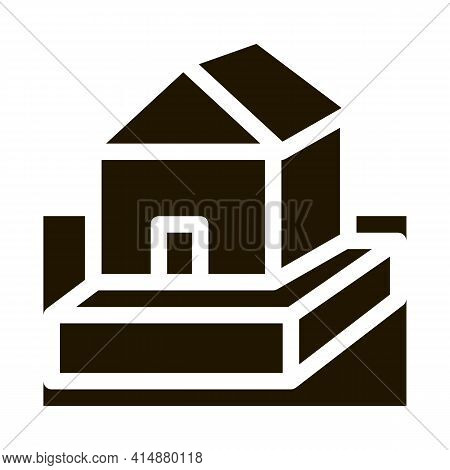 House On Foundation Glyph Icon Vector. House On Foundation Sign. Isolated Symbol Illustration