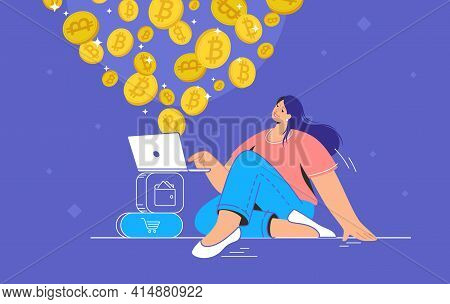 Young Woman Sitting Alone And Buying Or Selling Bitcoins On Laptop. Flat Modern Concept Vector Illus
