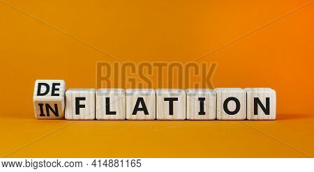 Inflation Or Deflation Symbol. Turned Cubes And Changed The Word Inflation To Deflation. Beautiful O