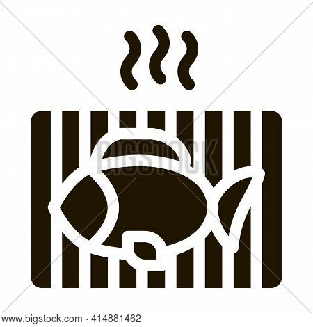 Cooking Bbq Fish Glyph Icon Vector. Cooking Bbq Fish Sign. Isolated Symbol Illustration