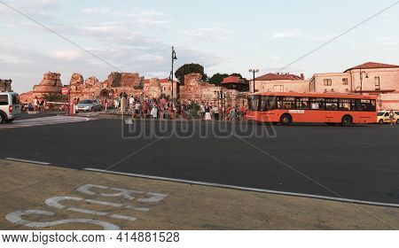 Nessebar, Bulgaria - July 20, 2014: Nesebar Bus Stop View With Tourists