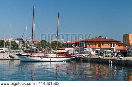 Nessebar, Bulgaria - July 21, 2014: Sailing Yacht  Moored In Old Port Of Nesebar. Ordinary People An