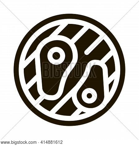 Frying Meat On Bbq Glyph Icon Vector. Frying Meat On Bbq Sign. Isolated Symbol Illustration