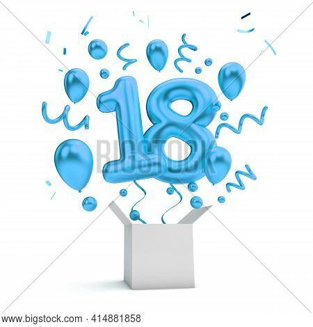 Happy 18th Birthday Blue Surprise Balloon And Box. 3d Rendering