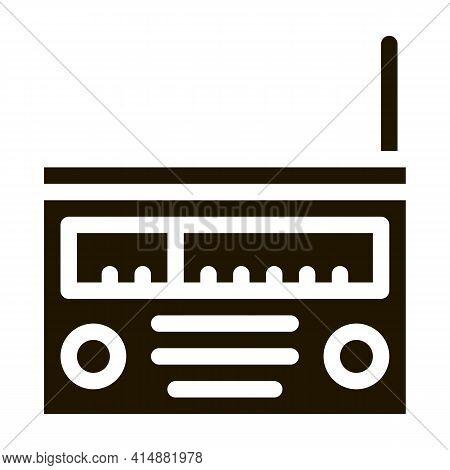 Radio Gadget Glyph Icon Vector. Radio Gadget Sign. Isolated Symbol Illustration