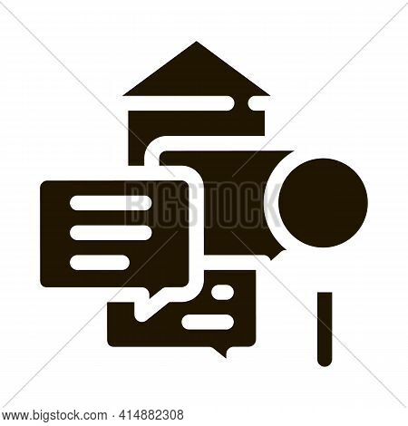 Real Estate Agent Messages Glyph Icon Vector. Real Estate Agent Messages Sign. Isolated Symbol Illus