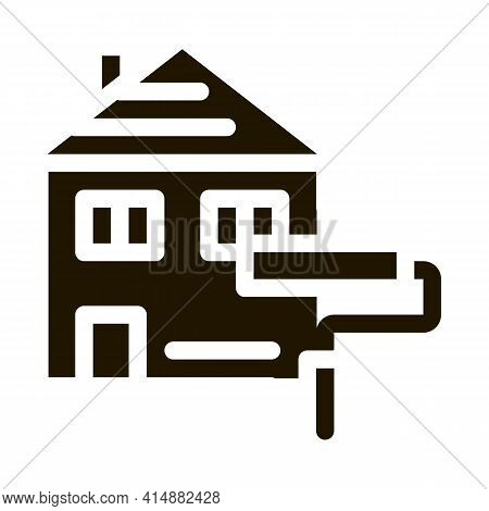 House Painting Glyph Icon Vector. House Painting Sign. Isolated Symbol Illustration