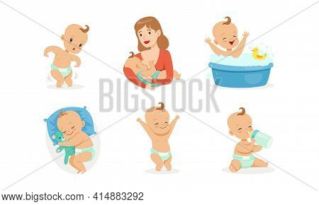 Infant Baby Different Activities Set, Adorable Baby Boys And Girls Playing Toys, Feeding, Bathing An