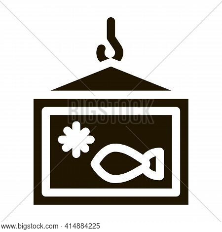 Frozen Fish Box Glyph Icon Vector. Frozen Fish Box Sign. Isolated Symbol Illustration