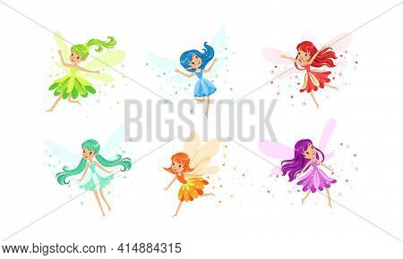 Cute Little Fairies With Wings Set, Charming Long Haired Girls Dressed Pretty Colorful Dresses Carto