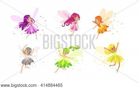 Little Fairies With Wings Set, Lovely Girls With Long Hair Dressed Pretty Colorful Dresses Cartoon V