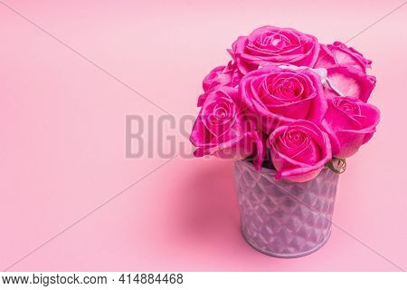 Bouquet Of Fresh Pink Roses In A Bucket