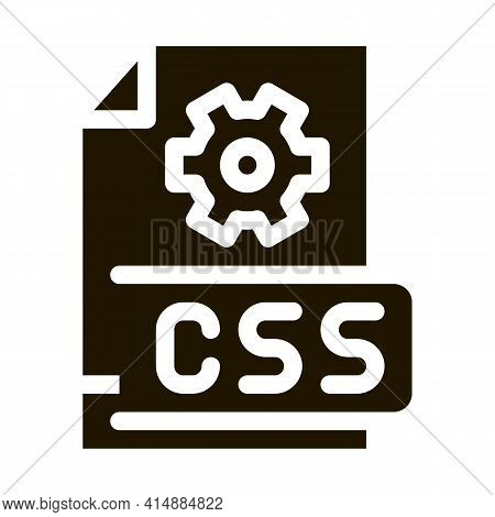 Front End Css Code Glyph Icon Vector. Front End Css Code Sign. Isolated Symbol Illustration