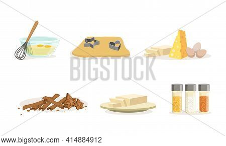 Baking Ingredients Set, Bakery Ingredients, Egg, Dough, Cheese, Butter, Cartoon Vector Illustration