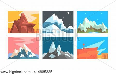 Mountain Landscapes Collection, Peaceful Scenery With Mountain Peaks In Different Times Of Day Vecto