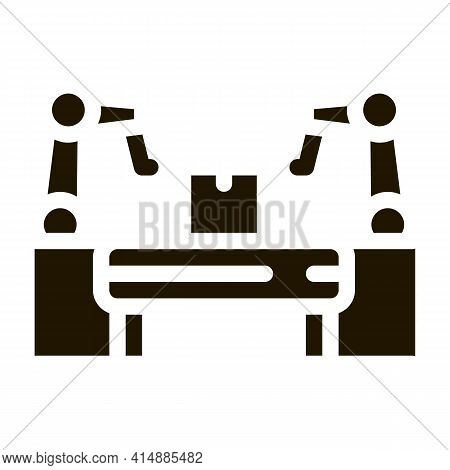 Manufacturing Automatic Equipment Glyph Icon Vector. Manufacturing Automatic Equipment Sign. Isolate