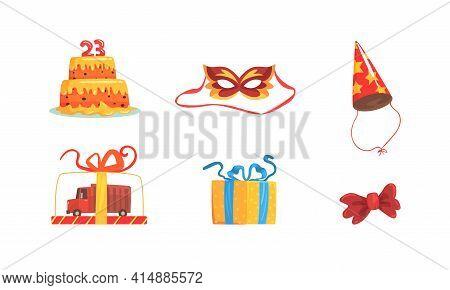 Birthday Party Symbols Set, Festive Party Celebration Objects, Cake, Mask, Party Hat, Gift Box Carto