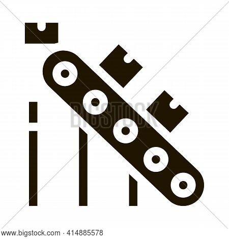 Manufacturing Conveyor Belt Glyph Icon Vector. Manufacturing Conveyor Belt Sign. Isolated Symbol Ill
