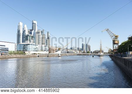 Buenos Aires, Argentina; Oct 31, 2019: Puerto Madero, An Exclusive Neighborhood, A Popular Tourist S