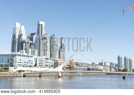 Buenos Aires, Argentina; Oct 31, 2019: Puerto Madero, An Exclusive And Touristic Neighborhood, Moder