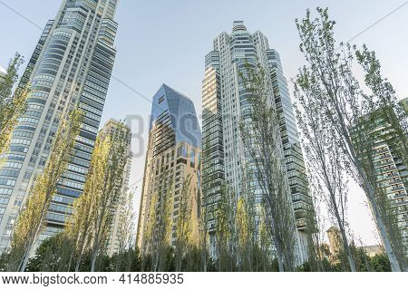 Nature In The City: Trees And Buildings Of Modern Architecture In The Exclusive Puerto Madero Neighb
