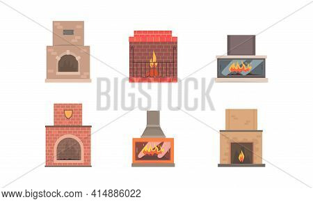 Classical Fireplace Collection, Home Fireplace Made Of Bricks, Natural Stone, Gypsum With Burning Fl