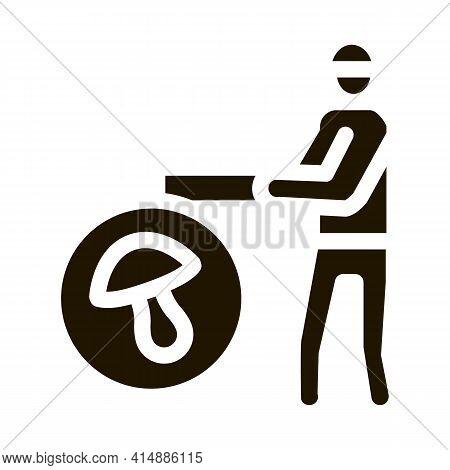 Mushroom Farmer Glyph Icon Vector. Mushroom Farmer Sign. Isolated Symbol Illustration