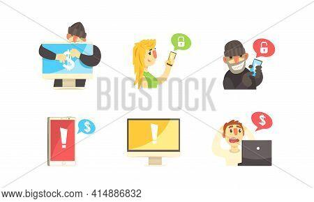 Cyber Security Concept, Hackers Robbing Computers And Smartphones Set, Criminals, Burglars Wearing B