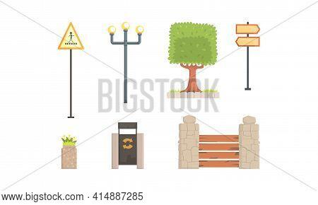 Urban Park Decor Elements Set, City Landscape Construction Design, Lamppost, Road Sign, Trash Bin Ca