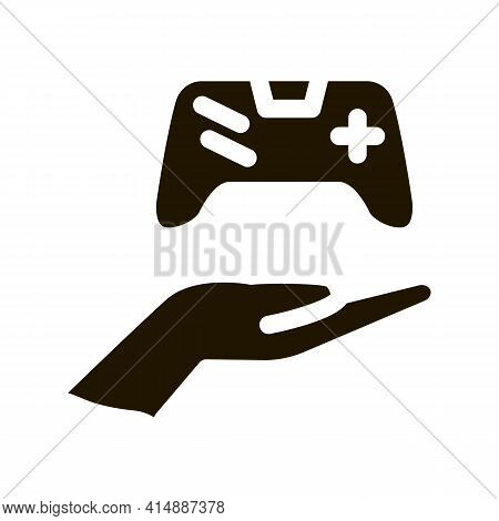 Hand Hold Game Joystick Glyph Icon Vector. Hand Hold Game Joystick Sign. Isolated Symbol Illustratio