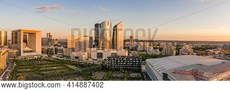 Paris, France - Jun 20, 2020: Panoramic Aerial Shot Of Skyscrapers Post Lockdown In La Defense In Su