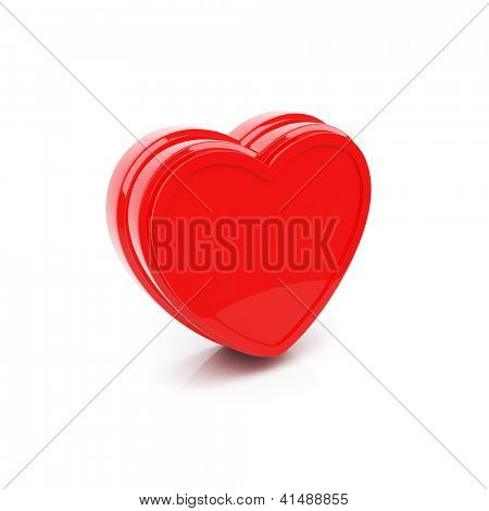 Isolated glossy heart on white background