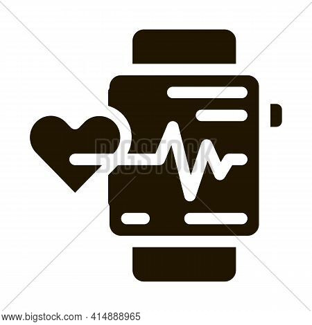 Watch Heartbeat Glyph Icon Vector. Watch Heartbeat Sign. Isolated Symbol Illustration