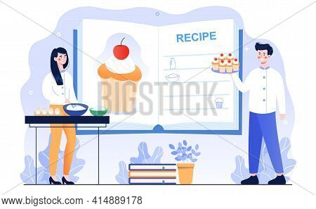 Male And Female Characters Are Cooking Cupcakes Together. Man And Woman Are Standing Next To Recipe